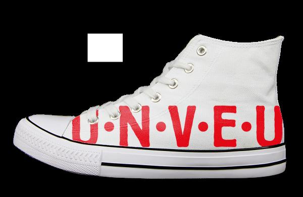 Union Berlin U N V E U Sneaker links Aussen weiß